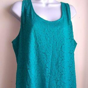 Lane Bryant Turquoise Lace Style Tank Size 18/20
